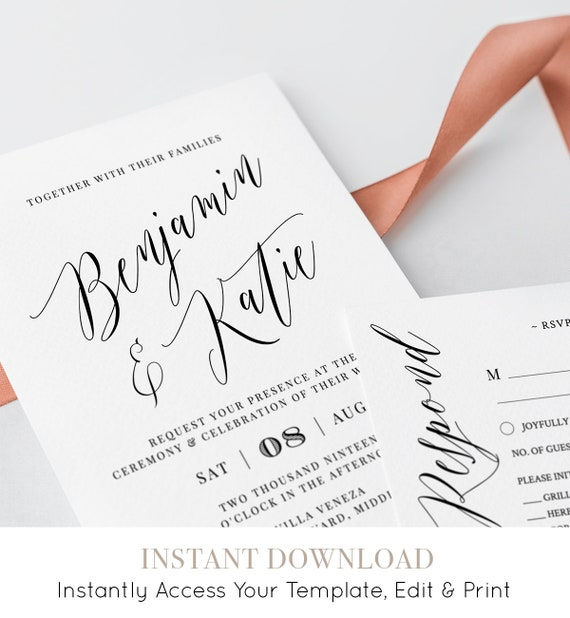 Printable Wedding Invitation Suite, 100% Editable Template, INSTANT DOWNLOAD, Modern Calligraphy, Invite, RSVP & Details Card, Templett #038