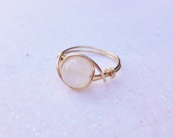 White gemstone wire ring, ring, wire ring, silver wire ring, gold wire ring, gold ring, dainty wire ring, gemstone ring, wire wrapped ring