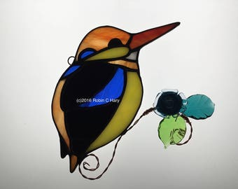 Black-backed Kingfisher Suncatcher in Stained Glass
