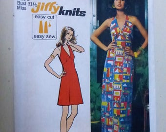 Vintage Simplicity Pattern 5558 Jiffy Knit Halter Dress in Two Lengths  Factory Fold