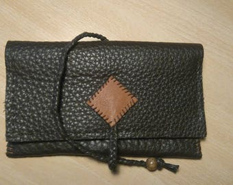 Brown cow leather tobacco pouch