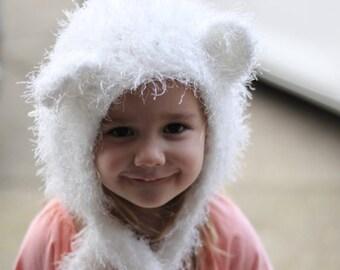 Fuzzy Teddy Hood, Little Girl Hood, Teddy bear Hat, 3-5T hood