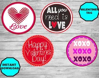 Valentines Gift Tag - Valentines Day tag- Valentines Decor- Happy Valentines Day - Printable Valentines Tag -Valentines Day favor