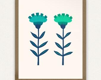 8x10 Blue Folk Flowers - Printable Art