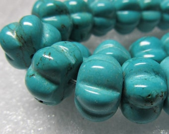Howlite Beads 14X 8mm Aqua Blue Turquoise  Hand Carved Rondelle Melons - 32 Pieces