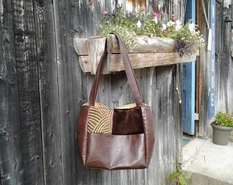 Upcycled Handbag, Handmade Shoulder Bag, Large Tote, Carry All Patchwork, Travel Bag