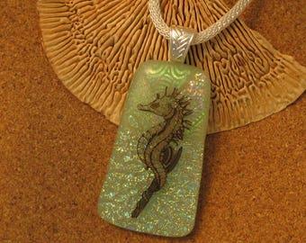 Dichroic Seahorse Pendant - Fused Glass Pendant - Seahorse Jewelry - Green Dichroic Pendant - Dichroic Jewelry - Fused Glass Jewelry