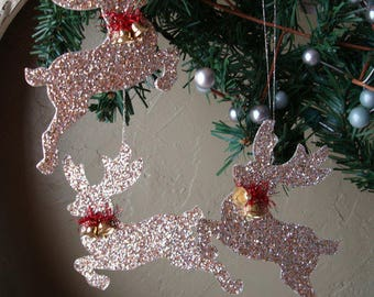 Glittered Reindeer ornaments gold glitter Christmas ornaments gold deer home decor cottage chic woodland animal Christmas paper ornaments