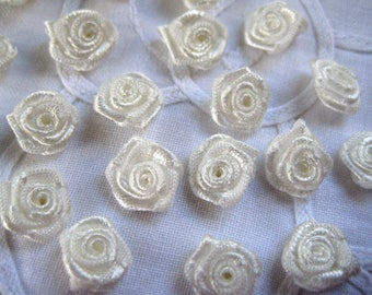 """1/2"""" Ivory Flowers Appliques for Sewing, Crafting, Scrapbooking, Embellishment, Doll Clothing, 15 mm, 35 or 55 pieces"""