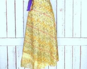 Vintage long Indian floral tribal print reversible wrap skirt/layered sheer flowy boho festival skirt/gold/ivory/purple wrap skirt