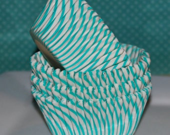 cupcake liners -  Aqua Stripe baking cups - muffin cups standard size grease proof cupcake - 50 count