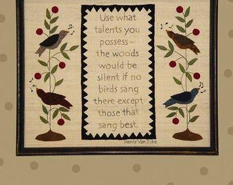 "Primitive Folk Art Wool Applique/Embroidery Pattern - ""SING"" Samper - Fits in Standard Size Frame"