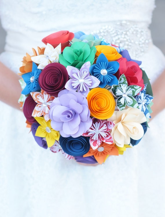 Paper flower bouquet rainbow flowers paper gift paper