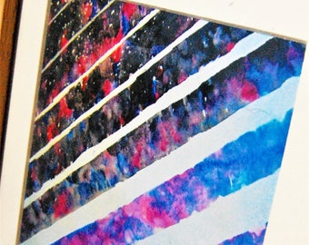 Evening to Night Sky, Abstract Watercolour Painting, Print, Striped Art