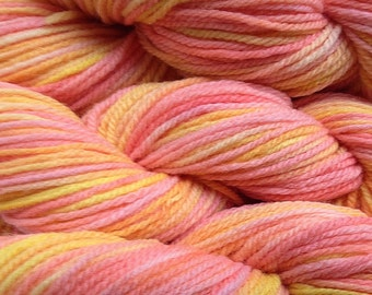 Orange Melon Dyed Yarn Handpainted Merino Wool Worsted Weight Yarn in Spring Melon