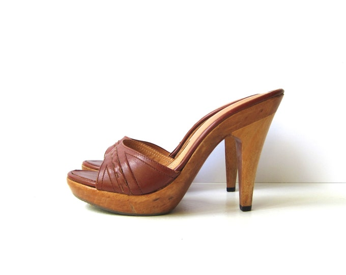 70s Leather Clogs