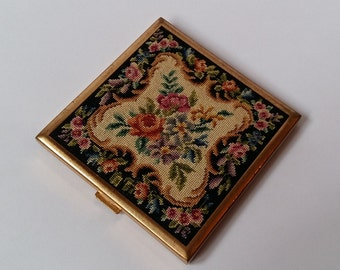 Vintage Micro Petit Point Compact, Square Powder Compact,Floral Design,  RBME, Made in Switzerland, 1950s