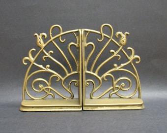 Vintage Fancy Swirling Art Nouveau Brass Bookends (E10156)