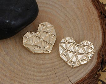 Origami heart 20x16mm gold charm