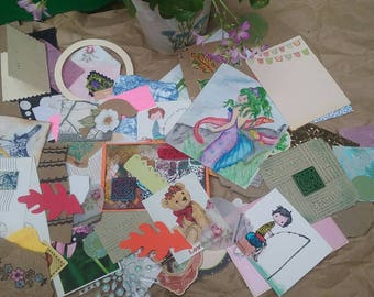 100 piece pen pal Ephemera/ art Journal / collage / diary /scrap book/snail mail/envelope decorating