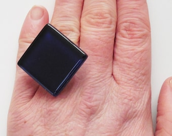 Navy Blue Tile Ring | Navy Blue Glass Tile Ring | Navy Blue Statement Ring