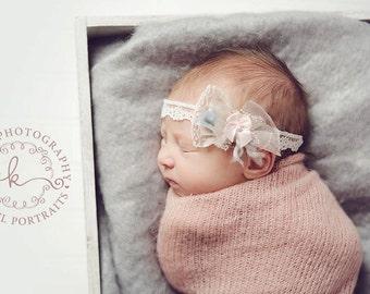 Naya - Ivory Pink Gray Lace Pearls Lace - Headband - Baby Infant Newborn Girls Adults - Photo Prop - Wedding Baptism