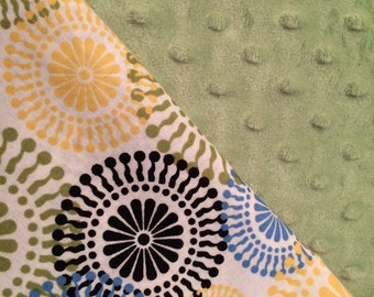 Baby Car Seat Canopy COVER or NURSING Cover: Blue, Green and Yellow Circles on Cream with Light Green Minky, Personalization Available