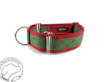 """Red Elf Dots Christmas Dog Collar - 1.5"""" (38mm) Wide - Choice of collar style and size - Martingale Dog Collars or Quick Release Buckle"""