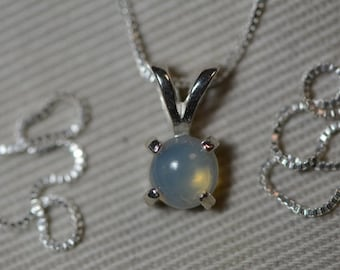 Opal Necklace, 0.33 Carat Genuine Solid Opal Solitaire Pendant On Sterling Silver Silver Necklace Sale