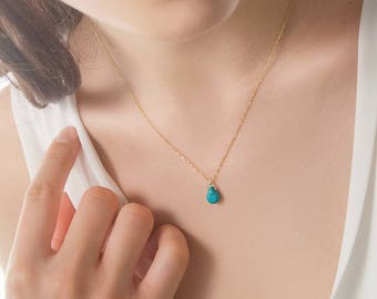 Turquoise Necklace, December Birthstone, Turquoise Drop, 14K Gold Necklace, Yellow Gold Chain Necklace, Birthstone Necklace, Blue Pendant