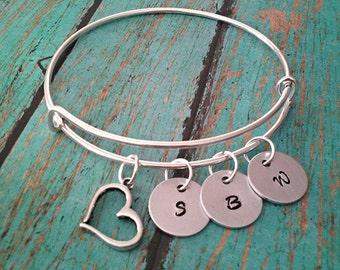 Personalized Initial Bracelet - Gifts for Mom - Mom Gift - Jewelry for Women - Mothers Bracelet - Grandma Gift - Grandma Bracelet - Bangle