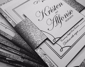 Glitter Backed Silver Glitter Paper Wedding Invitations