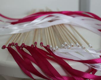 20 sticks white guard of honor of the groom and wedding decoration fuchsia Ribbon
