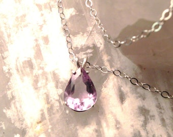 """15x11mm Pear Shaped Amethyst & Sterling Silver 18"""" Necklace"""