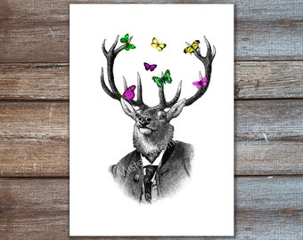 elk - deer portrait print illustration - deer wall decor, animal print