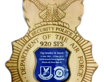 Personalized Security Forces Wood Badge 18 x 12 Plaque