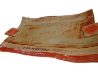Ceramic Platter/Ceramic Serving Dish/ Pottery Tray/I CHOOSE YOU/Wedding Gift - by Leslie Farin