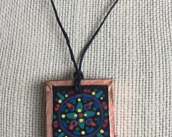 Richly colored mandala, Bold copper necklace, Pendant necklace for women, Painted gift for her, Handmade accent jewelry