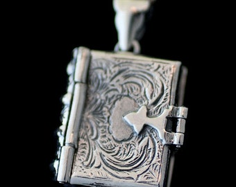 Sterling Silver Custom Photo Ornate Book Locket Necklace