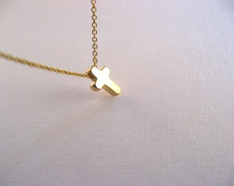 Little Dainty Necklace 14K gold filled with Cross 14K gold plated - cross necklace