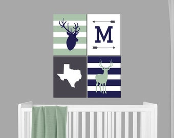 Woodland Nursery Art - Deer Nursery - Boys Nursery Decor - Woodland Nursery - Wall Art - Deer Decor - Antler Decor - Monogram Nursery