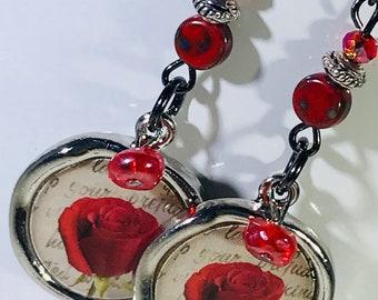 Rose Charm Red Bead Earrings