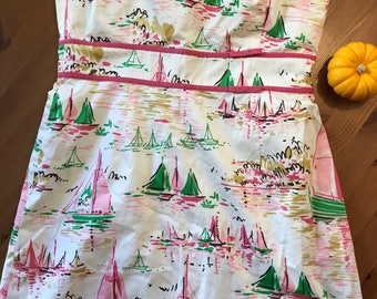 Strapless day dress with sailboat pattern circa 1990s