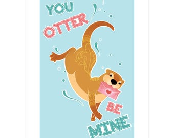 You Otter Be Mine A5 Art Print