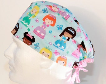 Princess Skull Style Scrub Cap -Feather Surgical Cap-Scrub Hat- Surgical Cap - Nurses Scrub Cap- Unisex Scrub Hat- Surgical Hat