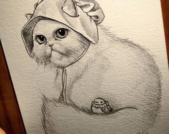 Robin Cat best friends. Original Artwork. Raul Guerra