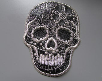 Embroidered Faux Black Leather Sugar Skull Applique
