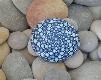 Blue Painted Mandala Stone - Meditation - Mandala Rock - Painted Rock - Mandala Art - Chakra - Mandalas - Ocean - Beach - Paperweight