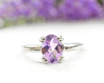 Natural Pink Amethyst Oval Cut Ring in 925 Sterling Silver