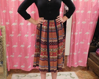 1960's Vintage Cotton skirt/ tag tumbleweeds/ hippy/ country